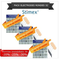 Pack sachets électrodes adhésives rondes 32 mm