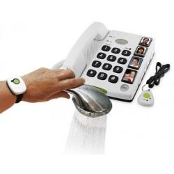 Téléphone fixe filaire seniors avec pendentif d'urgence