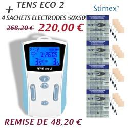 Tens eco 2 anti douleur avec 4 sachets électrodes 50x50
