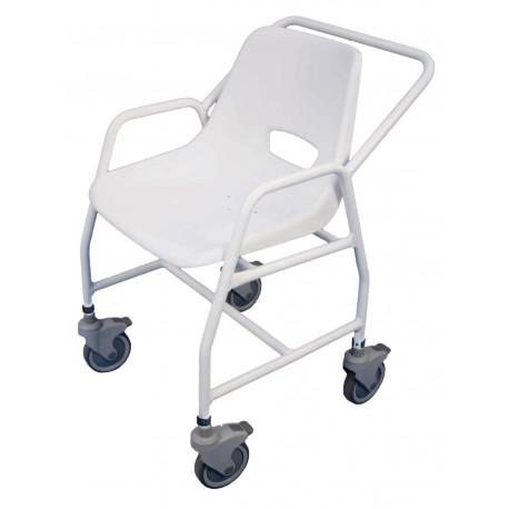 Chaise de douche mobile avec roulettes ajustable - Chaise percée à roulettes