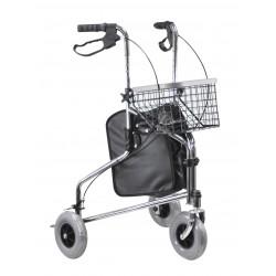Déambulateur chromé à trois roues pliable avec sac et panier - Déambulateur 3 roues