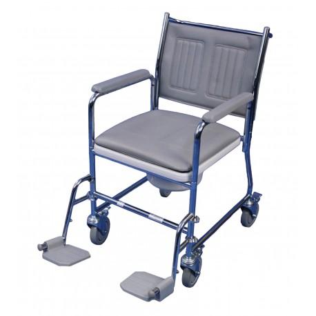 Chaise percée mobile linton configuration avec repose-pieds - Chaise percée à roulettes