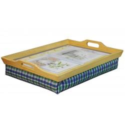 Plateau en bois avec coussin pour petit déjeuner au lit - Manger, lire, écrire au lit