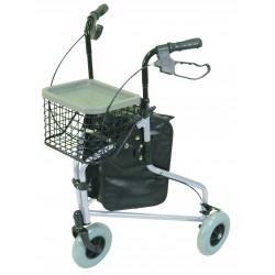 Déambulateur léger avec sacoche et panier - Déambulateur 3 roues