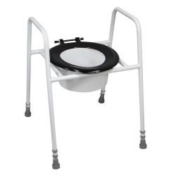 Siège de toilette surélevé et cadre modèle avec fixation au sol et pare-éclaboussures - Siège toilette réhausseur